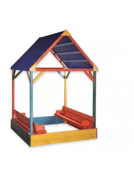 Пісочниця з кришкою і тентовим дахом різнокольорова