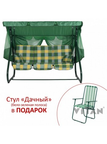 """Гойдалка """"Вілла"""" (Бязь, Жовто-зелена клітка)"""
