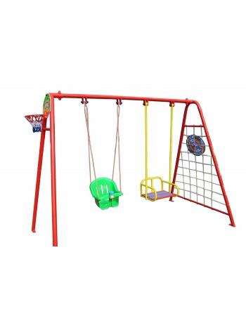Двойные качели с игровыми элементами + сидение для малышей