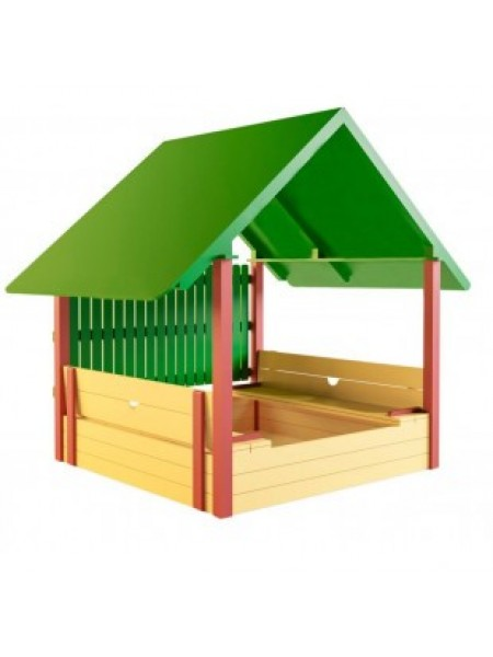 Пісочниця - будиночок з лавочками, дахом і захисним парканом