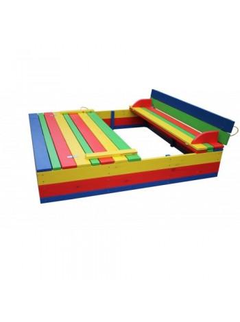 Песочница с крышкой цветная 200х200х36см