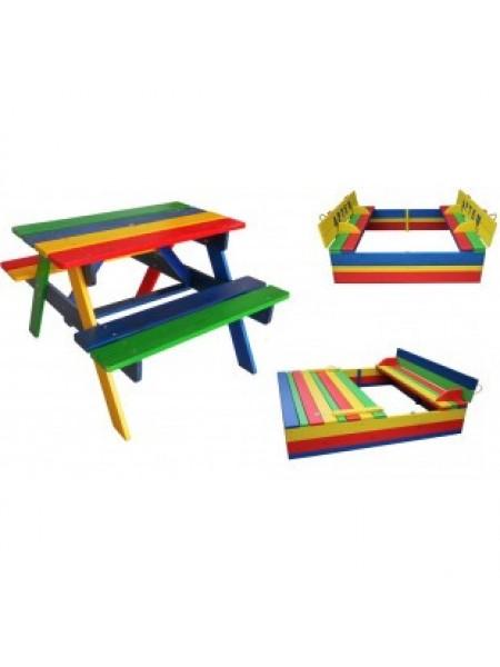 Комплект: пісочниця з кришкою і столик з лавочками