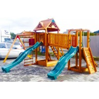 Детская площадка Spielplatz Томас Бруклини с двумя горками, лазами, канатной лесенкой и двойной качелью
