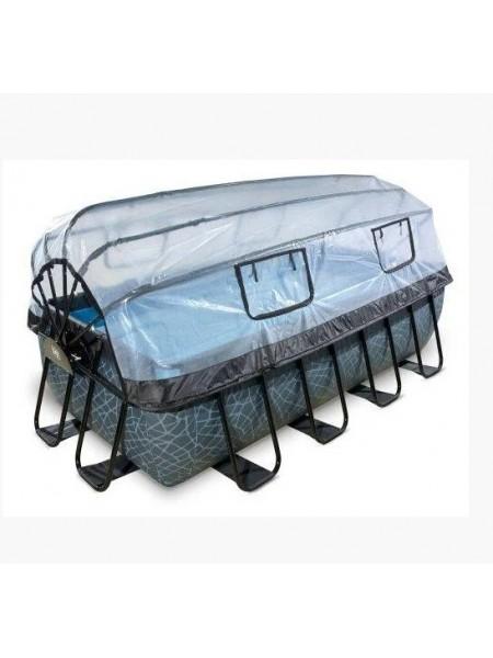Басейн каркасний c куполом EXIT pool Камінь 400x200 см прямокутний сірого кольору