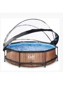 Бассейн круглый с куполом EXIT дерево 300 х 76 см