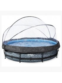 Бассейн круглый с куполом EXIT камень 360 х 76 см