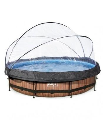 Бассейн круглый с куполом EXIT дерево 360 х 76 см