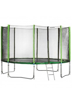 Батут Atleto 404 см с двойными ногами с сеткой зеленый (2 места)