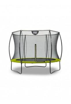 Батут круглый EXIT Silhouette 244 см с внутренней защитной сеткой зелёный