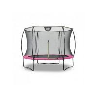 Батут круглий EXIT Silhouette 244 см з внутрішньою захисною сіткою рожевий
