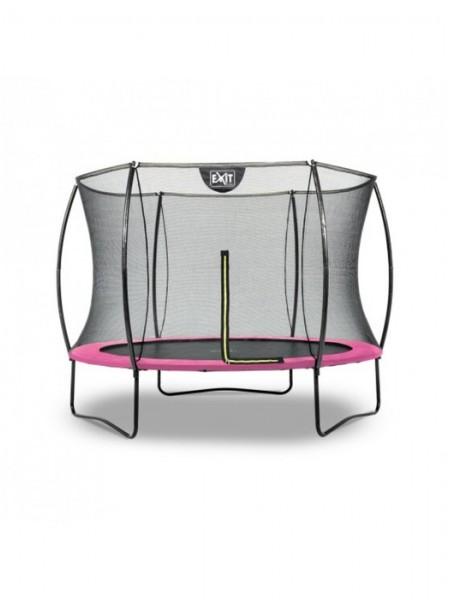 Батут круглый EXIT Silhouette 244 см с внутренней защитной сеткой розовый