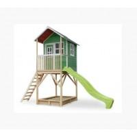 Дитячий дерев'яний будиночок з гіркою 220 см і пісочниця