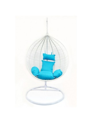 Подвесное кресло-кокон B-183A (бело-голубое)