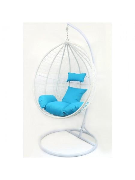 Подвесное кресло-качалка кокон B-183B (бело-голубое)