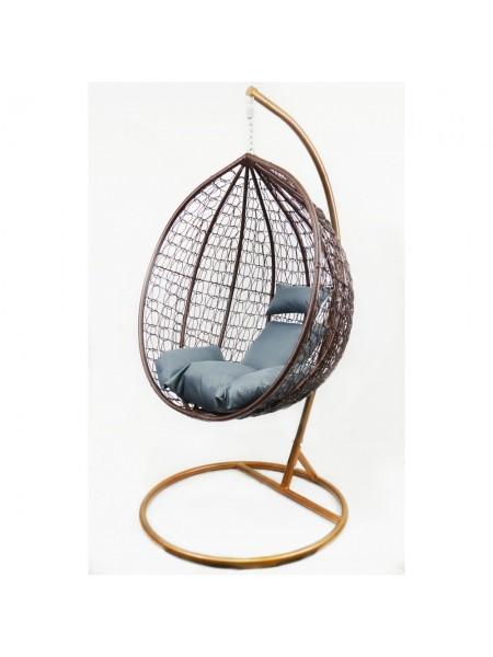 Подвесное кресло-качалка кокон B-183B (коричнево-серое)