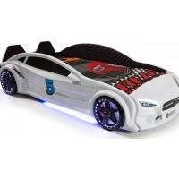 Детская кровать машина белая c подсветкой и кожаным салоном 190х90 см Mercedes пластик Турция
