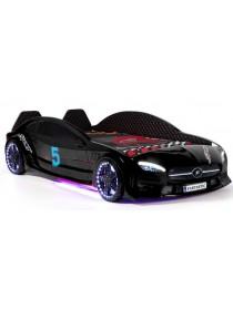 Детская кровать машина чёрная c подсветкой и кожаным салоном 190х90 см Mercedes пластик Турция