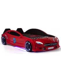 Детская кровать машина красная c подсветкой и кожаным салоном 90х190 см Mercedes пластик Турция