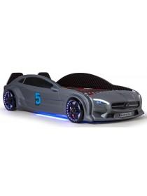 Детская кровать машина серая c подсветкой и кожаным салоном 190х90 см Mercedes пластик Турция