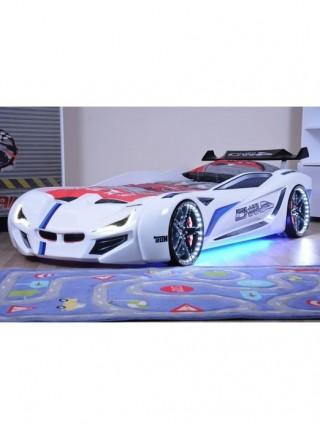 Кровать-машинка BMW  белая пластиковая