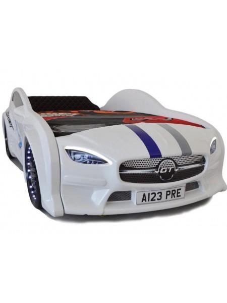 Ліжко машина GT з підсвічуванням 80х160 біла
