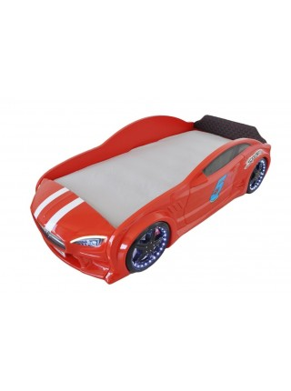 Ліжко машина GT з підсвічуванням 80х160 червона