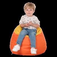 Кресло-мешок Груша Хатка Комби детская Оранжевая с Желтым (до 5 лет)