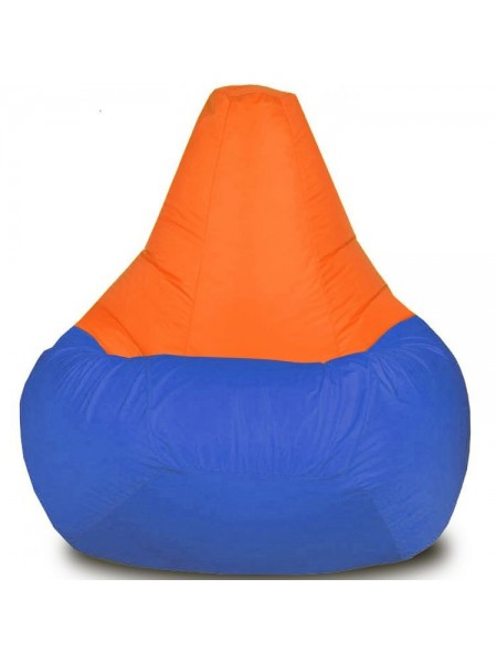 Кресло-мешок Груша Хатка средняя Синий с Оранжевым (подростковая)