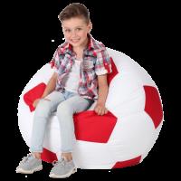Кресло-мешок Мяч Хатка средний Белый с Красным