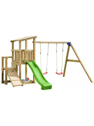 Детская игровая площадка с 2 горками Blue Rabbit CASCADE + SWING