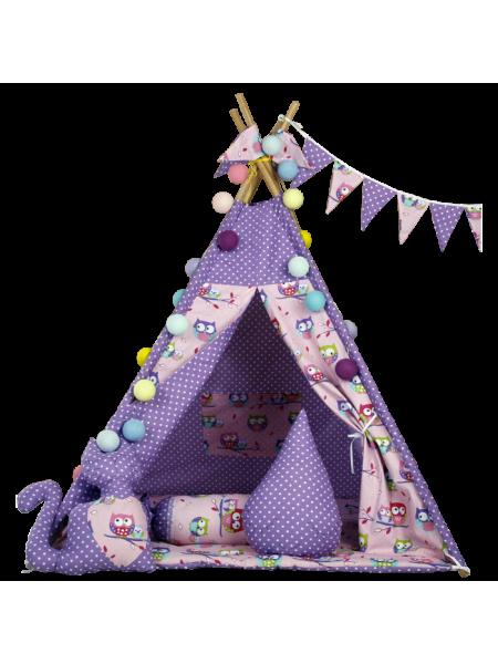 Вігвам комплект Фіолетові сови з подушкою